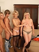 One lucky dude and three horny mature sluts