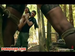 BDSM Slaves in Bondage Outdoor Training