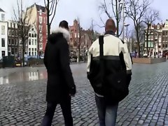 Host takes horny tourist to a blond hooker in Holland