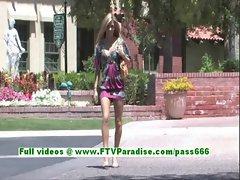Leslie sensual blonde teenage fingering pussy outdoor