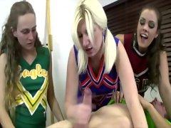 Teen cheerleaders jerking off a cock
