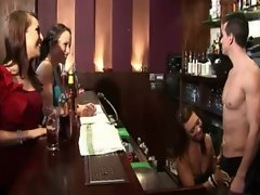 Bar tender get fondled by the CFNM woman in his bar