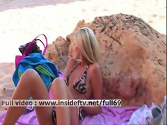 Suzanna _ Amateur blonde masturbating and fingering her pussy on a public beach