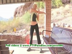 Lindy naughty blonde gilr public flashing tits and fisting outdoor
