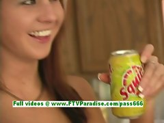 Lisa awesome redhead babe getting naked and flashing and posing