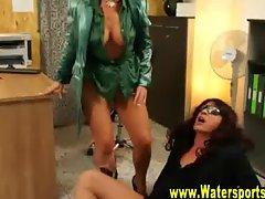 Sexy glamorous pissing bitch