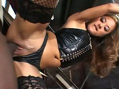 Kaylani Lei gets her tight pussy rammed by a monster sized black cock
