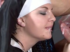 This sexy nun praises God as her holy holes get filled with a cock