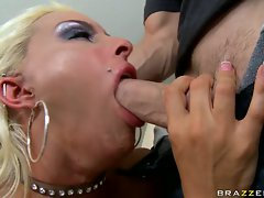 Sexy slut Holly Halston gagging and chocking on a big long cock