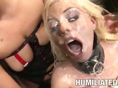 Nasty slut Britney Amber getting banged and having her hot face facialized