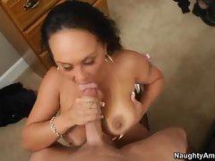 Nasty Mariah Milano gets splattered in warm jizz