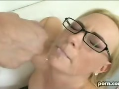 Bitchy cougar Camryn Cross gets the cum blast she always wanted