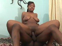 Ebony Lauren Foxxx bounces her twat on a hard meat pole
