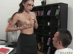 Miko Lee gets her tits out to interview this dick