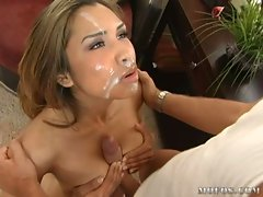 Nataly Rosa get a very hot fuck and then taking a sperm shower from her lover
