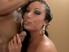Horny Nadia Nitro gets a messy facial after a wild fuck session