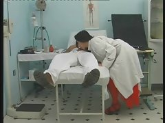 Nasty slut doctor curing a patient with a hot blowjob and fuck