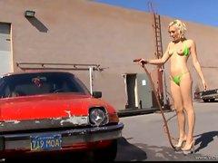 Lily Luvs hot babe do car wash in green bikini