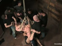 Princess Donna tied with rope and hang got gang bang