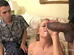 Aiden Aspen taste cum of guy while boyfriend watch