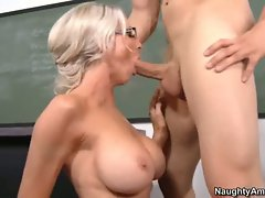 Cock loving Emma Starr swallows a massive cock