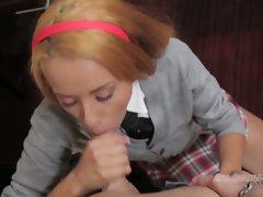 School girl Chloe Stran on knees eating man meat