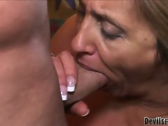 Horny granny shows that she can still handle huge cock
