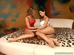 Eve Angel and Kathia Nobili lesbians get horny on bed