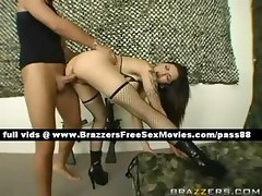 Horny brunette slut in the army gets her wet pussy fucked hard
