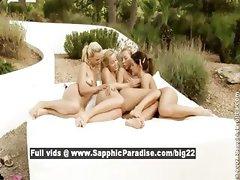 Deniska and Britta and Alana and Katy lesbo teen babes teasing