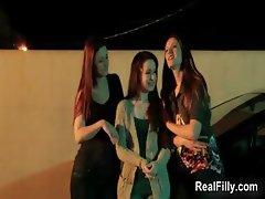 Three hot lesbians getting horny kissing part2