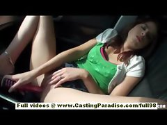 Veronica Franco amateur brunette teen with natural tits masturbating in a car