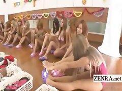 Subtitled group of tan Japan gyaru change into bikinis