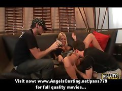 Sweet blonde girl having gangbang sex on the couch