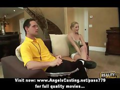 Sassy blonde cheerleader exercising and doing blowjob for coach