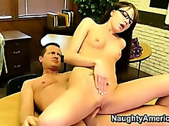 Young tight brunette gets fucked on desk