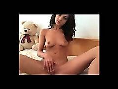Breathtakingly beautiful brunette webcam girl getting naughty all alone