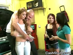Amateur Girls Flashing Their Tits For Cash In Garage