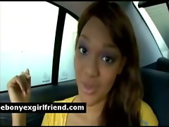 Cheating black Gf gets taped seducing a white stud in backseat