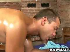 Muscular stud gets his ass licked and cock sucked