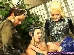 Bukkake messy fetish lesbians strapon play