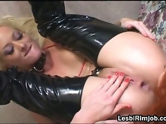 Slutty lesbian gets pussy and ass filled