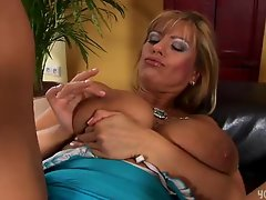 Mature Adele Masturbating in Blue Dress