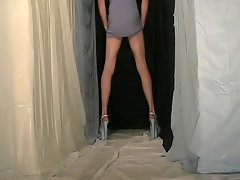 Fanny cd wearing a very short blue dress and 8&amp,#039,&amp,#039, high heels