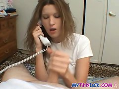 Slut can&amp,#039,t even hang up the phone while sucking cock