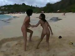 Lesbian fun on the beach
