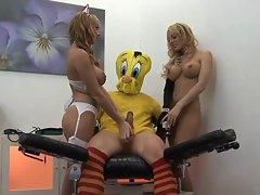 British blonde sluts in a FFM threesome with Tweetie Pie