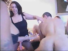 Guy gets fucked by girls with strap-ons