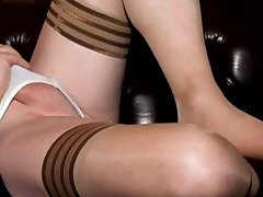 Crossdresser Carresa Cums in Black and Tan