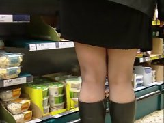 Fishnet stockings mini dress and boots